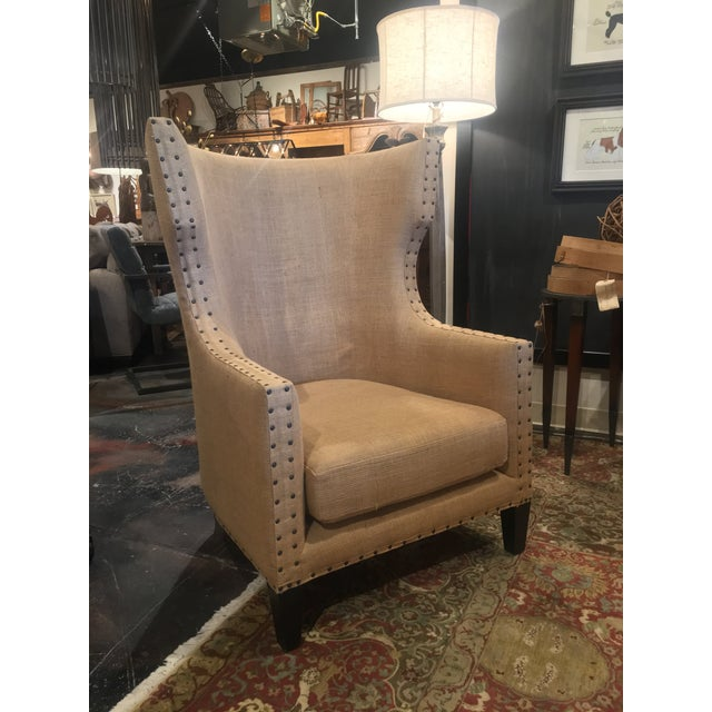 2010s Noir Furniture Bernie Burlap Wingback Chair For Sale - Image 5 of 11
