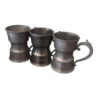 Vintage English Pewter Tankards - Set of 3 For Sale