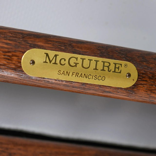 Orange McGuire Director Chair X-Chair, Vintage Black Leather, Oak and Brass For Sale - Image 8 of 9