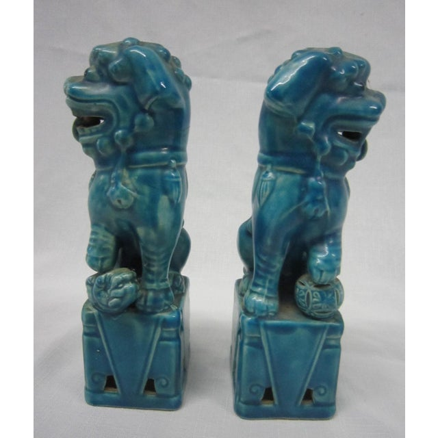 Japanese Turquoise Foo Dogs - A Pair - Image 6 of 7