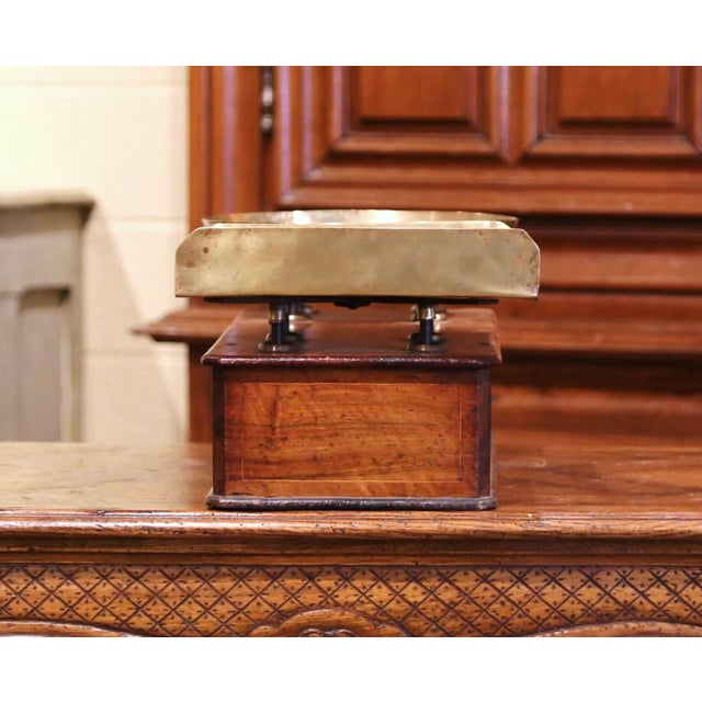 19th Century French Napoleon III Walnut and Brass Scale With Set of Weights For Sale In Dallas - Image 6 of 12