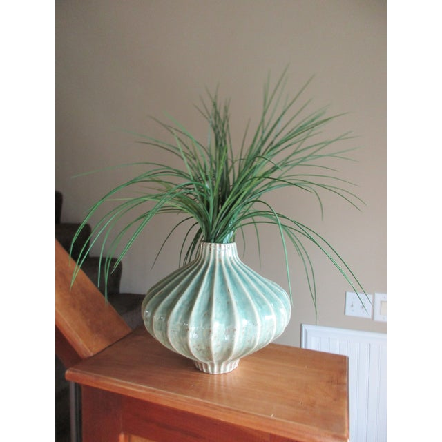 Global Views Teal Cinched and Fluted Vase For Sale - Image 11 of 11