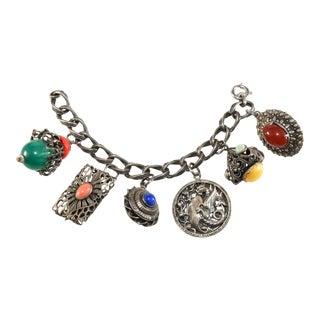 Napier Charm Bracelet Dragon Multi Color Cabochons For Sale