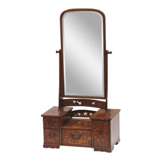 19th Century Mulberry Wood Vanity Mirror With Drawers For Sale