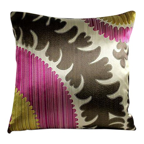 Donghia Silk & Velvet Suzani Accent Pillow - Image 1 of 3