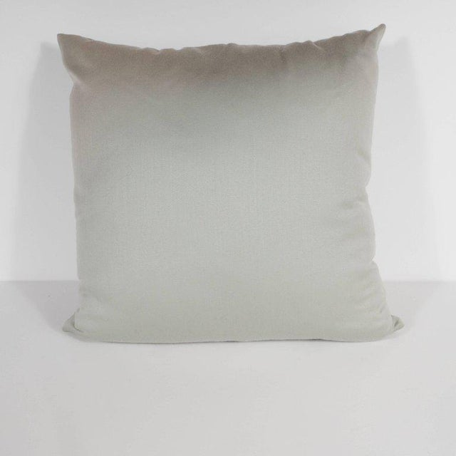 Art Deco Custom Handmade Dove Gray Pillow with Embroidered Circular and Geometric Forms For Sale - Image 3 of 6
