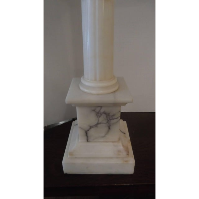 1930s Pair of Neoclassic Carved Marble Column Lamps For Sale - Image 5 of 8