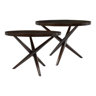 T.H. Robsjohn Gibbings Tripod Base Side Tables - a Pair For Sale