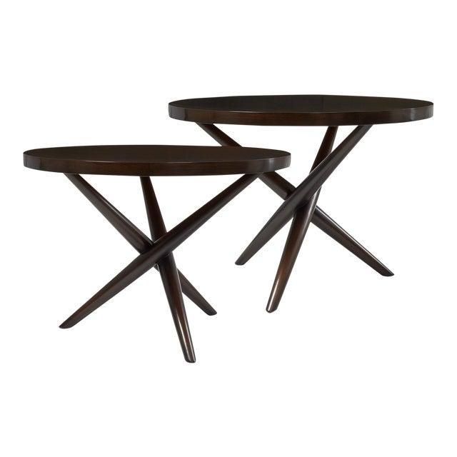 T.H. Robsjohn Gibbings Tripod Base Side Tables - a Pair For Sale