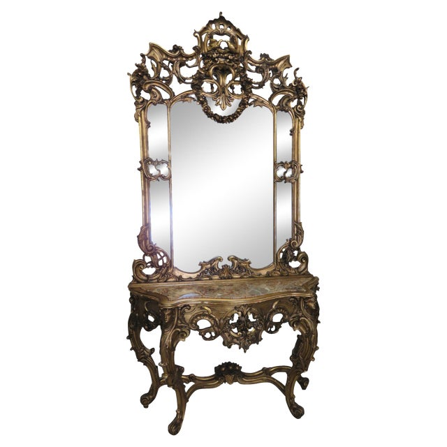 Italian Style Figural Gilt Carved & Marble Console &Mirror For Sale