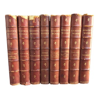 1890s Antique Leather Bound Books by Charles Reade - Set of 8 For Sale