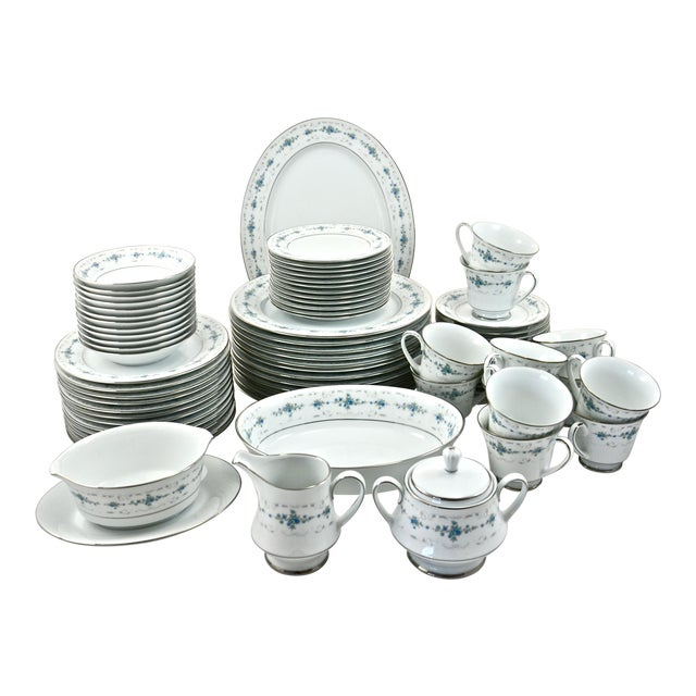 Noritake Silver & Blue Floral Dinner Service- 77 PIeces For Sale