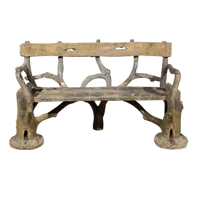 French Late 19th Century Faux-Bois Concrete Bench with Vases Flanking the Sides For Sale - Image 13 of 13