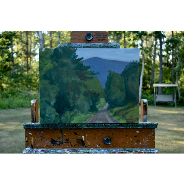 """Titled """"Vermont Gravel with Blue Mountain"""". A common sight in the middle of summer in the heart of Vermont. Painted in..."""