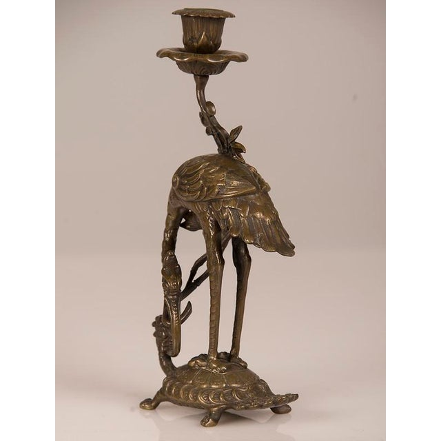Brown Bronze Crane on Turtle Pair Candlesticks, France c.1840 For Sale - Image 8 of 11