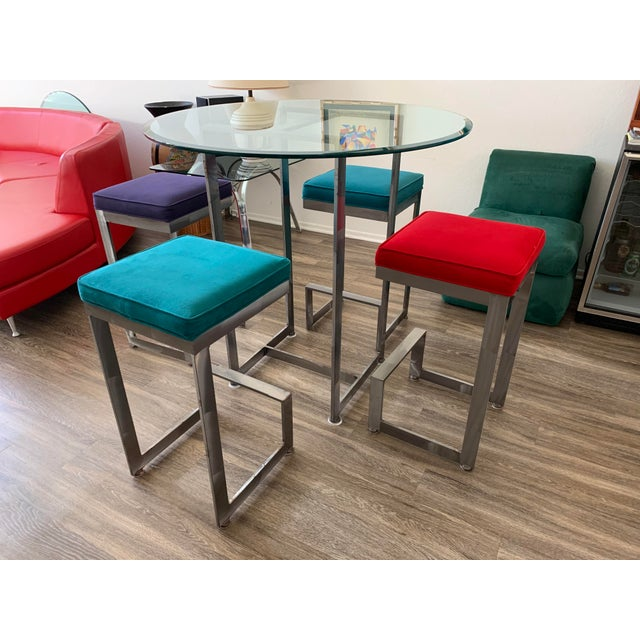 1970s Chrome and Glass High-Top Table & 4 Stools - 5 Pieces For Sale - Image 12 of 12