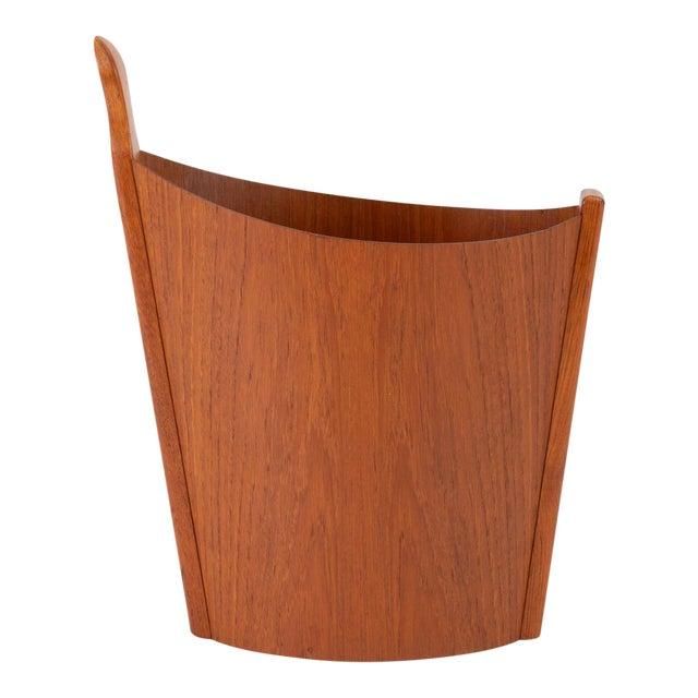 Asymmetric Teak Waste Basket by Westnofa For Sale