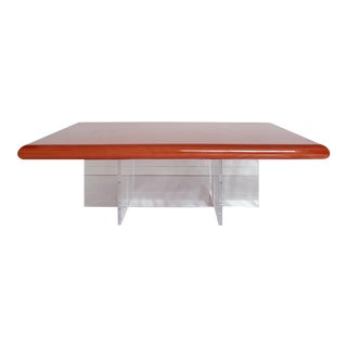 Vintage Lacquered Top With Lucite Base Coffee Table For Sale