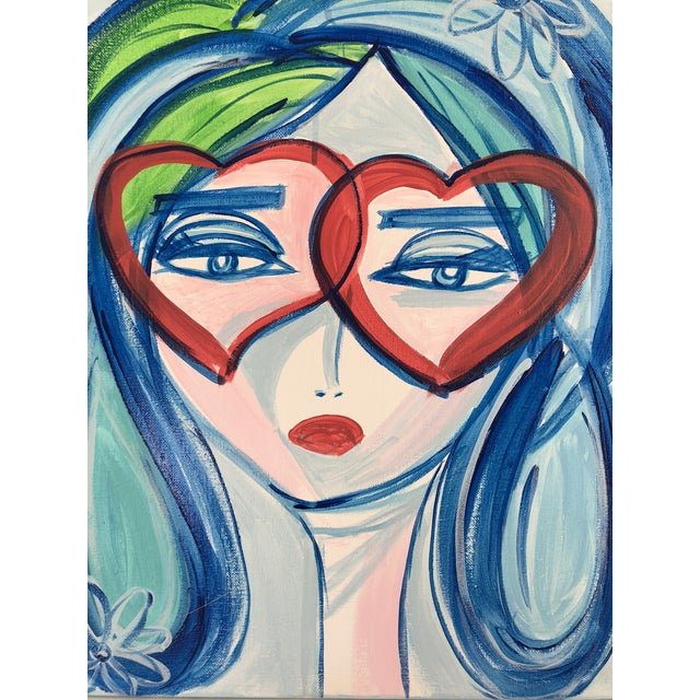 """Contemporary Anastasia George Blue """"Léla"""" Original Acrylic Face Painting on Canvas For Sale - Image 3 of 4"""
