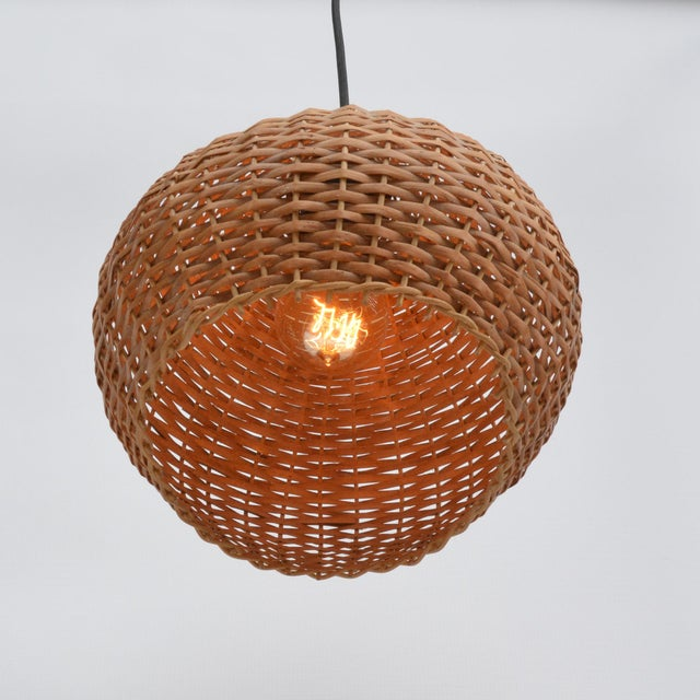 1960s Wicker Lampshade Ceiling Lamp, Denmark For Sale - Image 10 of 11