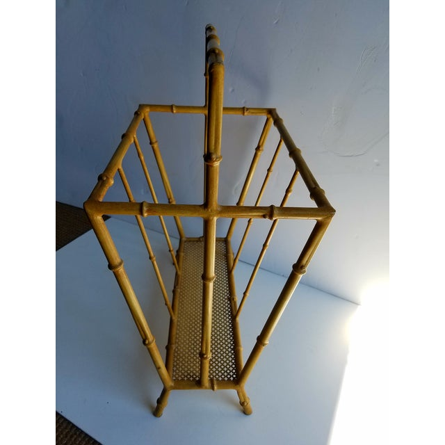 Mid-Century Metal Faux Bamboo Magazine Stand For Sale - Image 4 of 4