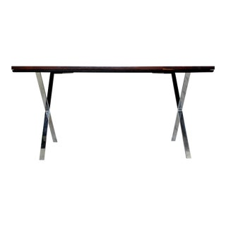 1970s Mid-Century Modern Milo Baughman Rosewood and Chrome X-Base Table For Sale