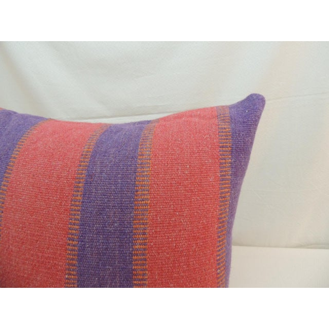 Large Floor Pillow in Blue and Red Woven Stripes For Sale - Image 4 of 6