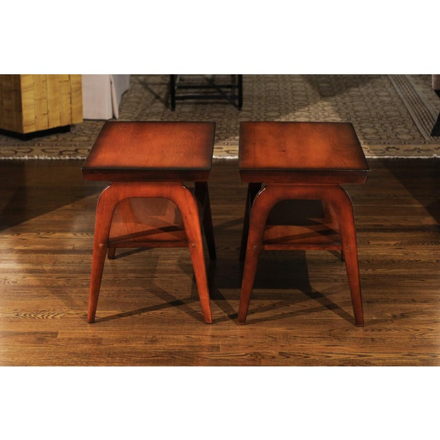 Brown 1954 Restored Pair of End Tables by John Wisner for Ficks Reed For Sale - Image 8 of 13