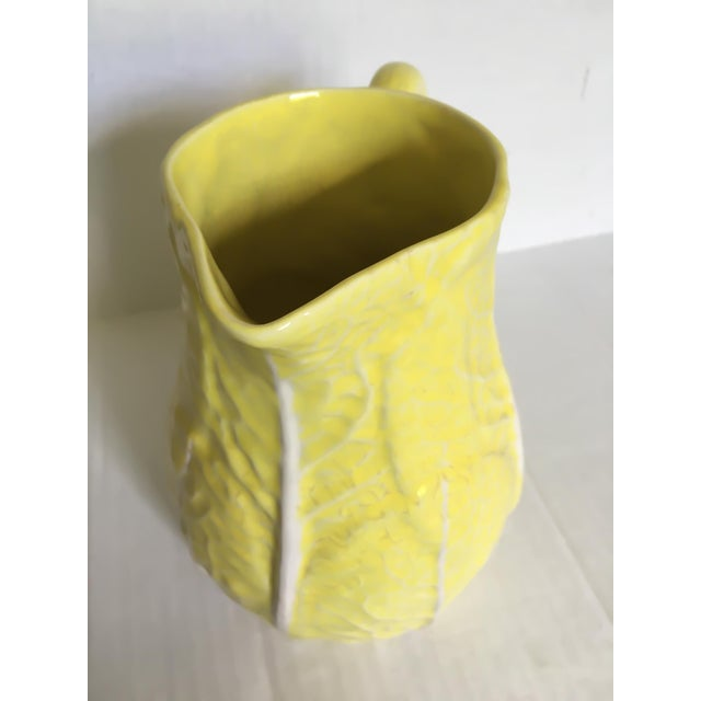 Yellow Majolica Cabbage Leaf Pitcher - Image 6 of 8