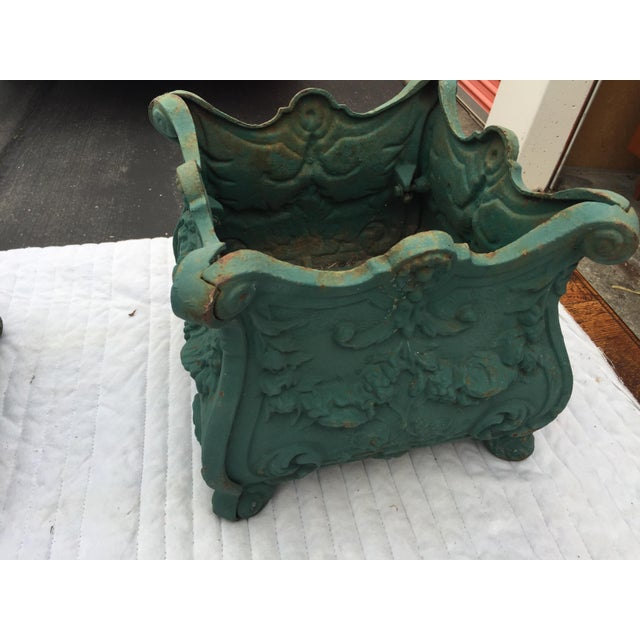 1900 - 1909 French Cast Iron Planters a Pair For Sale - Image 5 of 10