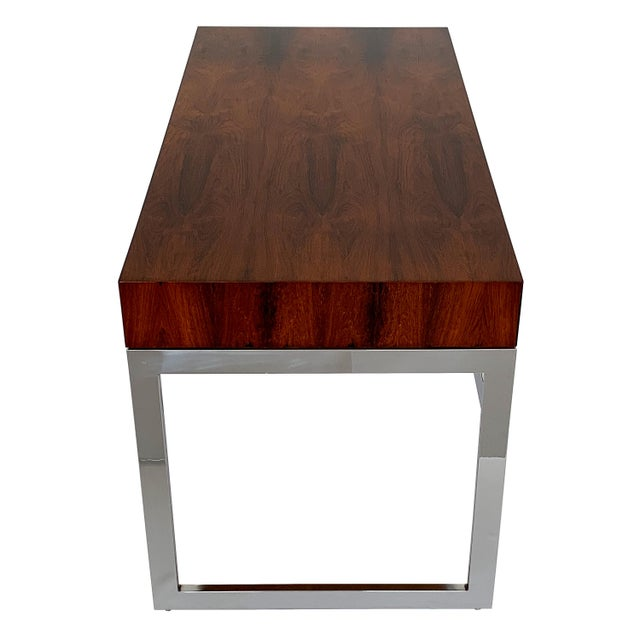 Milo Baughman Rosewood and Chrome Desk For Sale - Image 9 of 13