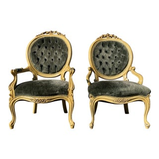"""""""His and Hers"""" French Petit Fauteuils Armchairs- a Pair For Sale"""