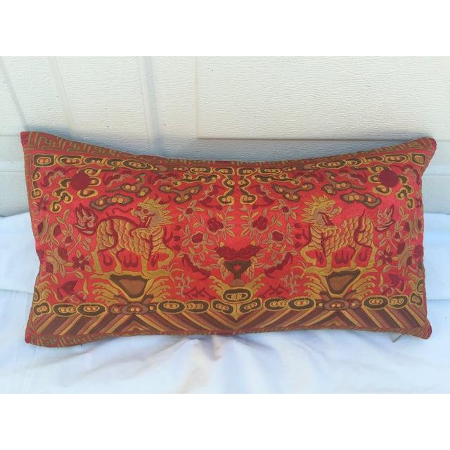 Silk Embroidered Foo Dog Boudoir Pillow For Sale In Los Angeles - Image 6 of 7