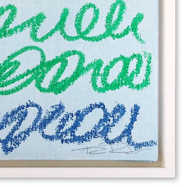Abstract Musings in Blue & Green Contemporary Painting For Sale - Image 3 of 4