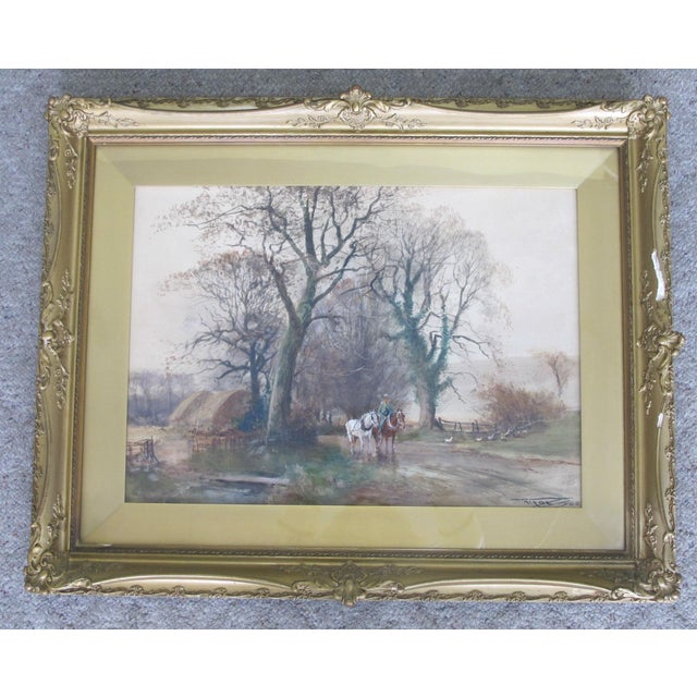 Antique English Landscape Equestrian Watercolor Painting by Charles Henry Fox For Sale - Image 10 of 10
