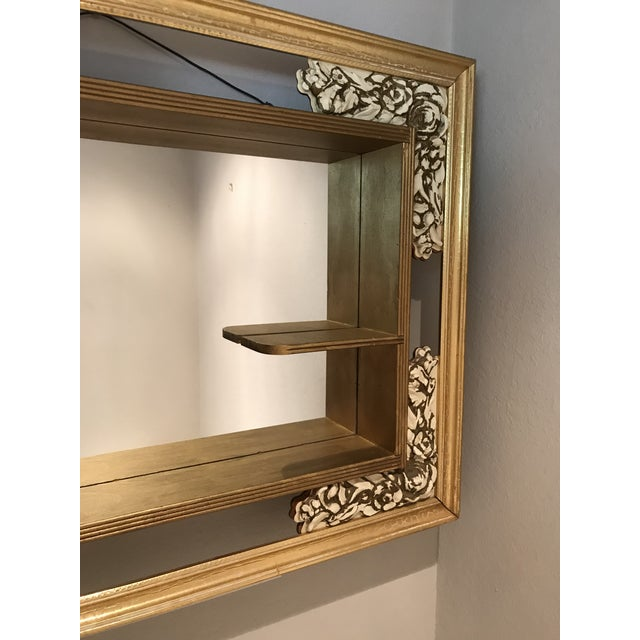 Mid-Century Modern Gilded Shadow Box Mirror With Carved Roses For Sale - Image 4 of 9