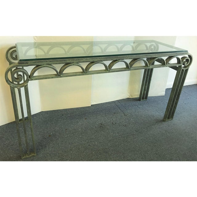 Neoclassical Iron Scroll Console Table in a Verdigris Finish For Sale - Image 12 of 12