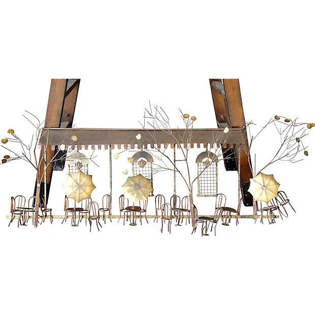 A large Parisian cafe scene metal wall sculpture by signed, C. Jere, 1972. Great perspective and craftsmanship. Era:...