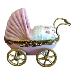 French Limoges Baby Pram With Baby For Sale