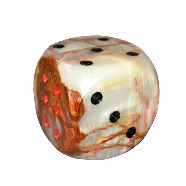 Oversized Mid-Century Modern Handcrafted Marble & Onyx Dice Sculptures - Set of 3 For Sale In Miami - Image 6 of 13