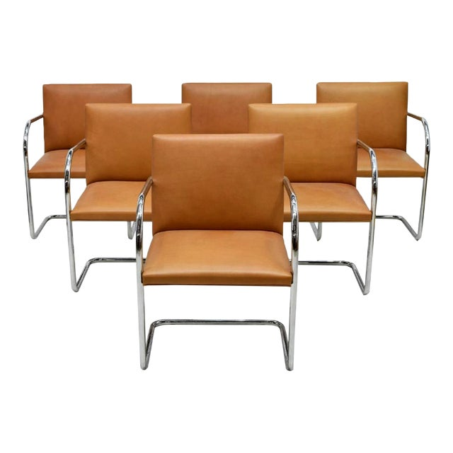 Six Mies Van Der Rohe Brno Armchairs by Knoll For Sale