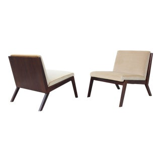 Modern Justin Porcano for Bernhardt Design Mohair Edge Lounge Chairs - a Pair For Sale