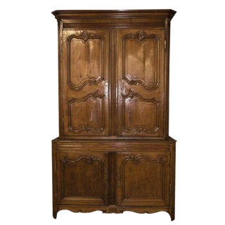 Antique 18th C Regence Provincial Carved Oak Buffet Deux Corps Cabinet For Sale