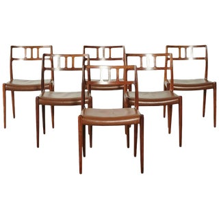 Set of Six Rosewood Niels O Møller Model 79 Dining Chairs, Denmark, 1960s For Sale