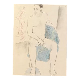 1990s Figurative Drawing, Seating Male Nude Drawing by James Frederic Bone For Sale
