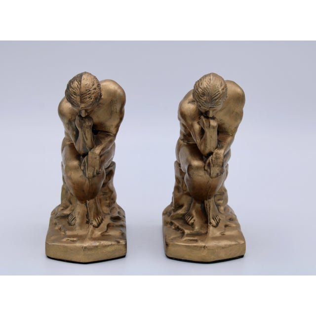 1928 Metallic Gold Thinking Man Bookends For Sale In Tulsa - Image 6 of 12