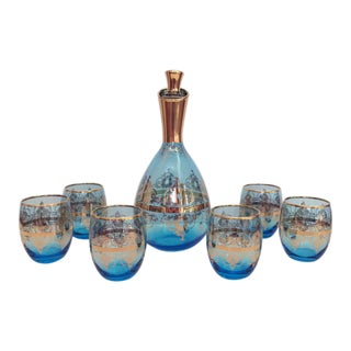 Vintage Italian Decanter and Cordials - Set of 7 For Sale