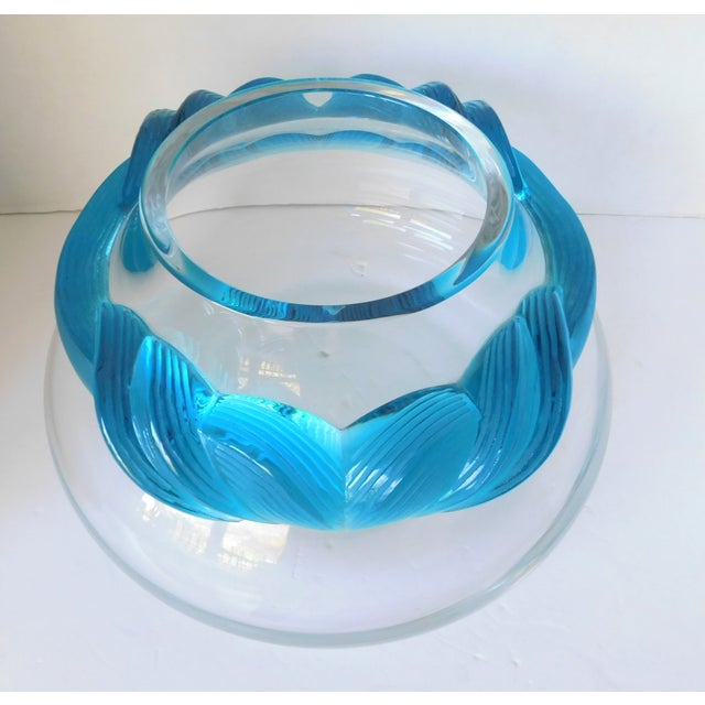 1980s Turquoise and Clear Crystal Vase/Vessel For Sale - Image 10 of 13