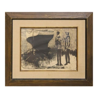 """1950s David Adickes """"Two Men on a Beach"""" Post-Impressionist Black Figurative Lithograph Print, Framed For Sale"""