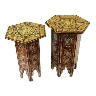 Vintage Moroccan Inlay Tabouret Tables - A Pair For Sale